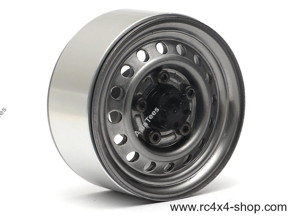 "Boom Racing 1.55"" 16-Hole Classic Steelie Reversible Beadlock Wheels (Rear) w/ XT504 Hubs (2) Gun Metal"