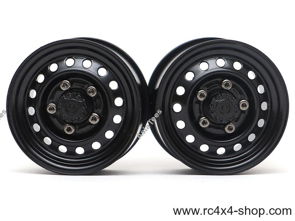 "Boom Racing 1.55"" 16-Hole Classic Steelie Reversible Beadlock Wheels (Front) w/ XT504 Hubs Black"