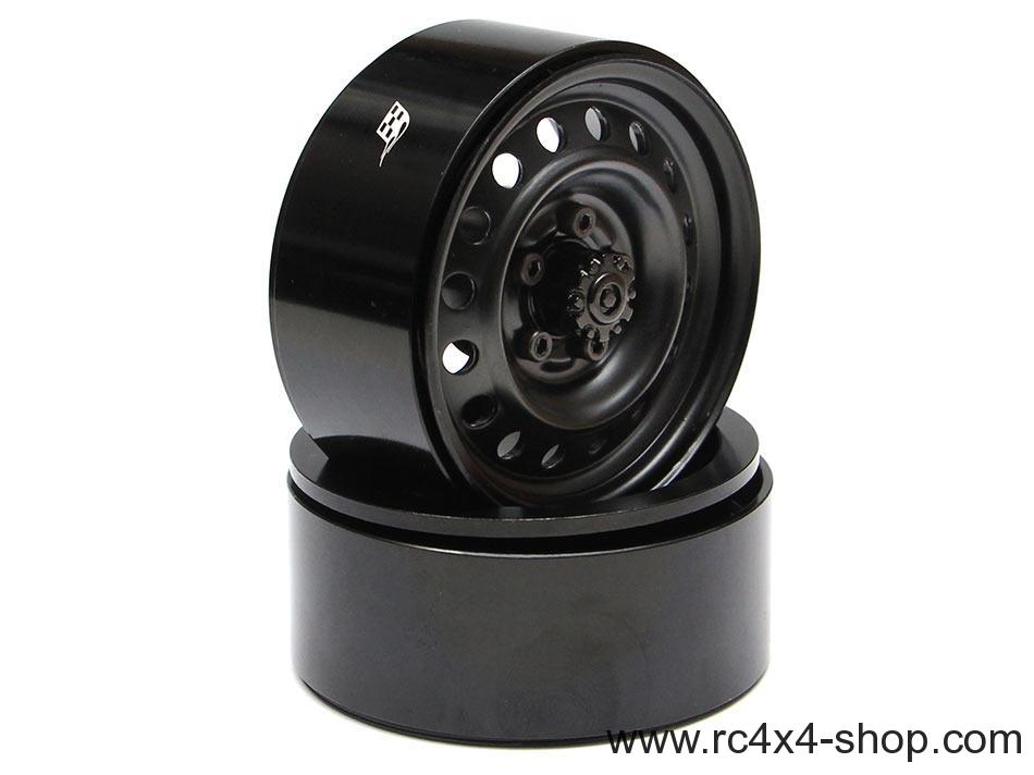Boom Racing 1.9 Badass Classic 16-Hole Steelie & CNC Aluminum Beadlock Wheels W/ Center Hubs (Front) 2pcs Black