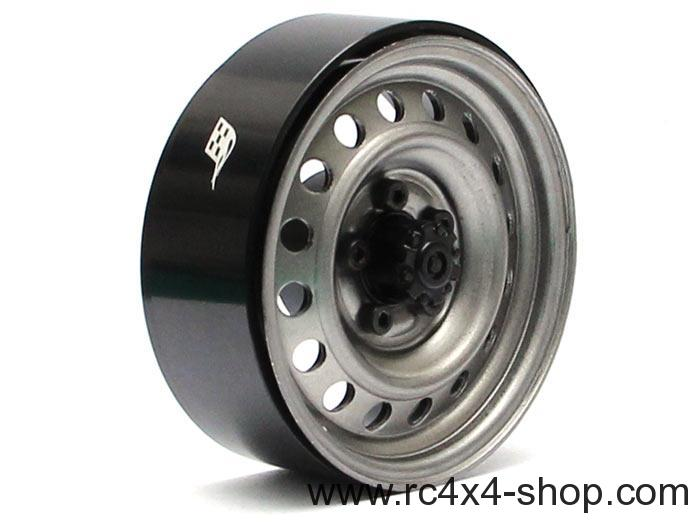 Boom Racing 1.9 Narrow 21mm Badass Classic 16-Hole Steelie & CNC Aluminum Beadlock Wheels w/ Center Hubs (Front) 2pcs Gun Metal