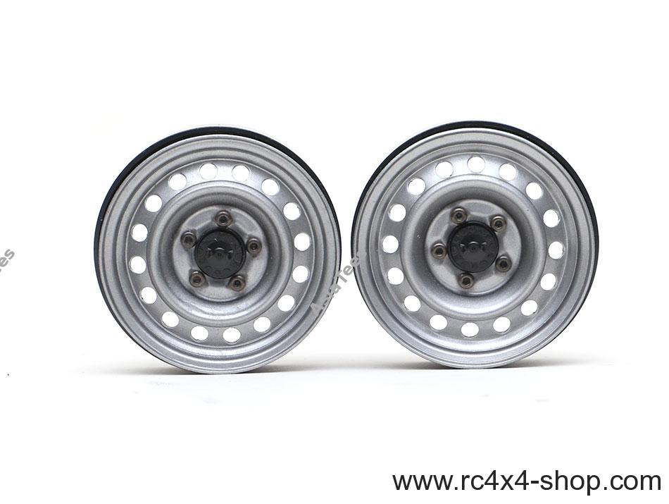 Boom Racing 1.9 Badass Classic 16-Hole Steelie & CNC Aluminum Beadlock Wheels W/ Center Hubs (Rear) 2pcs Gun Metal