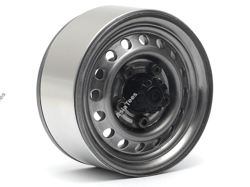 "Boom Racing 1.55"" 16-Hole Classic Steelie Reversible Beadlock Wheels (Front) w/ XT504 Hubs Gun Metal"