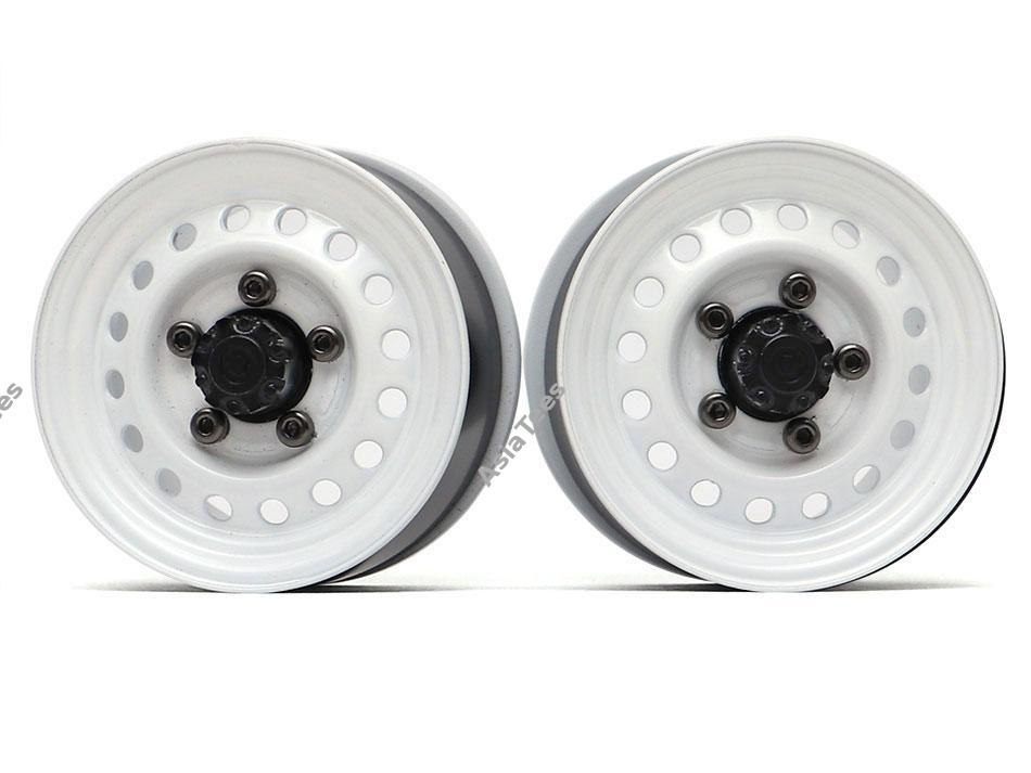"Boom Racing 1.55"" 16-Hole Classic Steelie Reversible Beadlock Wheels (Front) w/ XT504 Hubs White"