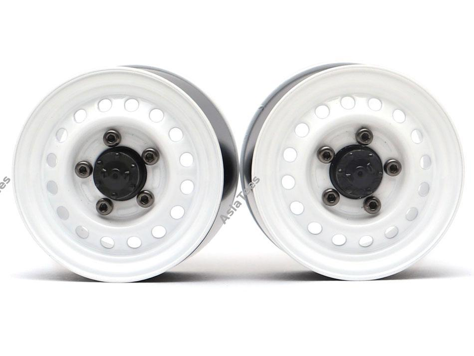 "Boom Racing 1.55"" 16-Hole Classic Steelie Reversible Beadlock Wheels (Rear) w/ XT504 Hubs (2) White"