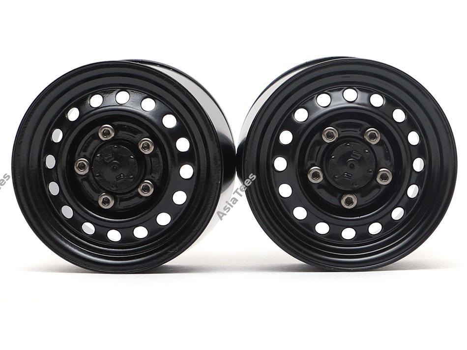 "Boom Racing 1.55"" 16-Hole Classic Steelie Reversible Beadlock Wheels (Rear) w/ XT504 Hubs Black"
