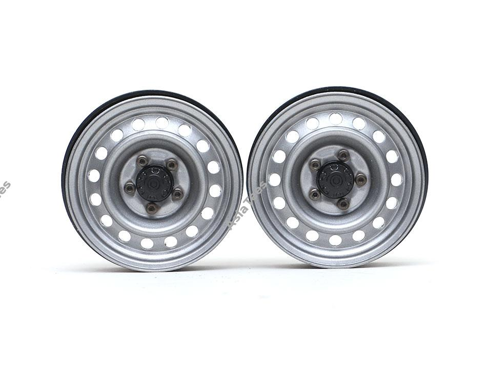 Boom Racing 1.9 Badass Classic 16-Hole Steelie & CNC Aluminum Beadlock Wheels W/ Center Hubs (Front) 2pcs Gun Metal